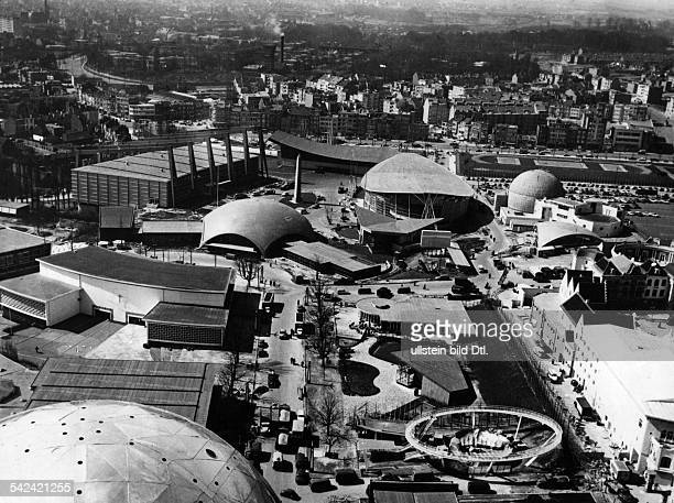 World exhibition Brussels 174 View from top sphere of the Atomium upon the expo terrainfltr in circle Pavillon of the romancatholic mission Hall of...