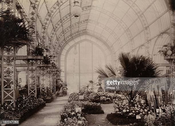World Exhibition Paris Indoor view of the huge greenhouse of the Societe d'Horticulture The Pavillon of the city of Paris Print Private collection