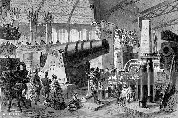 World Fair in Paris Krupp cannon exhibited in the great machine gallery Engraving French National Library