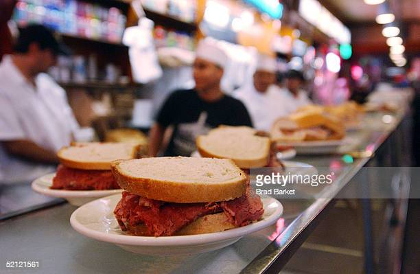 World famous Katz's Deli sandwiches are served at the after party for the screening of 'Taxicab Confessions New York New York ' at Katz's Deli on...