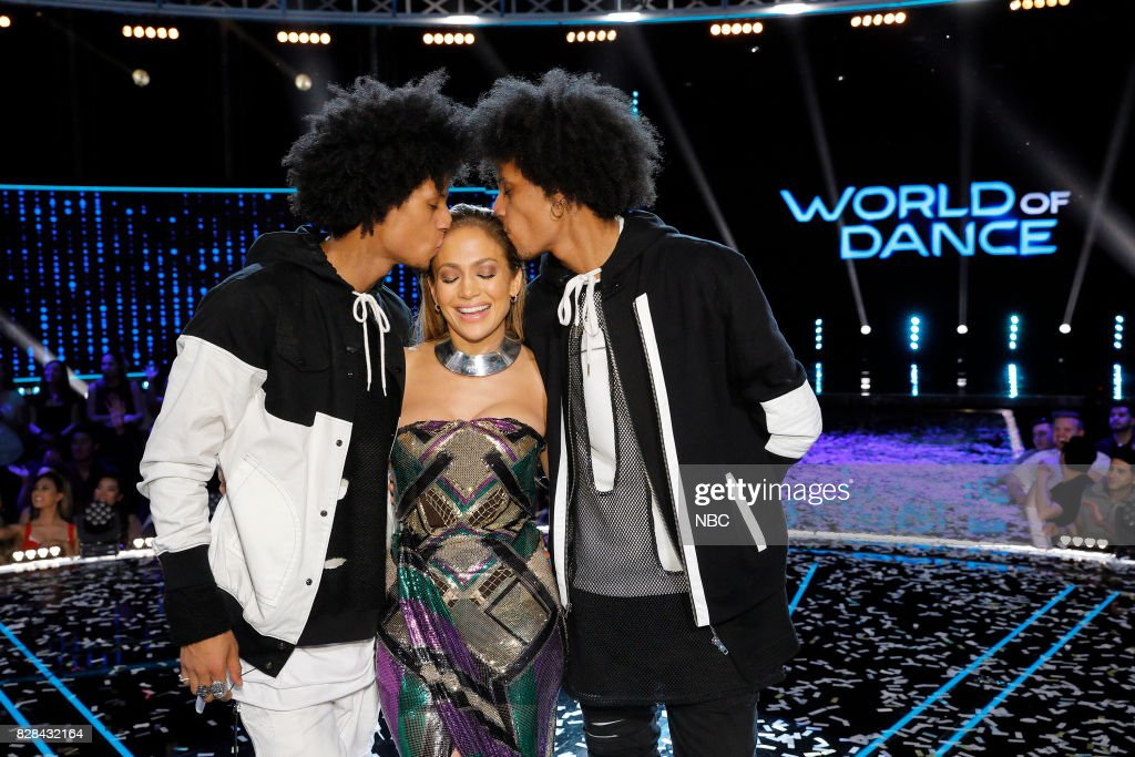 DANCE -- 'World Final' Episode 110 -- Pictured: (l-r) Les Twins, Jennifer Lopez (Center) --