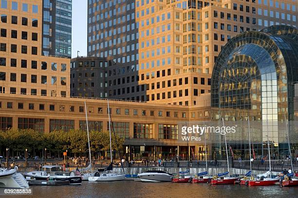 World Financial Center office buildings in the financial district of Manhattan West of the city among which was the World Trade Center and Batery...