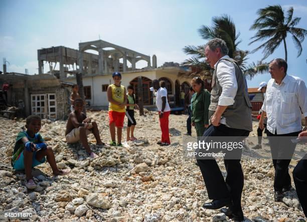 UN World Food Program Executive Director David M Beasley visits a house in the Jaimanitas neighborhood of Havana that was affected by Hurricane Irma...