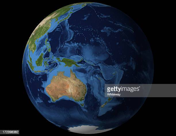 World globe view from Australia and New Zealand