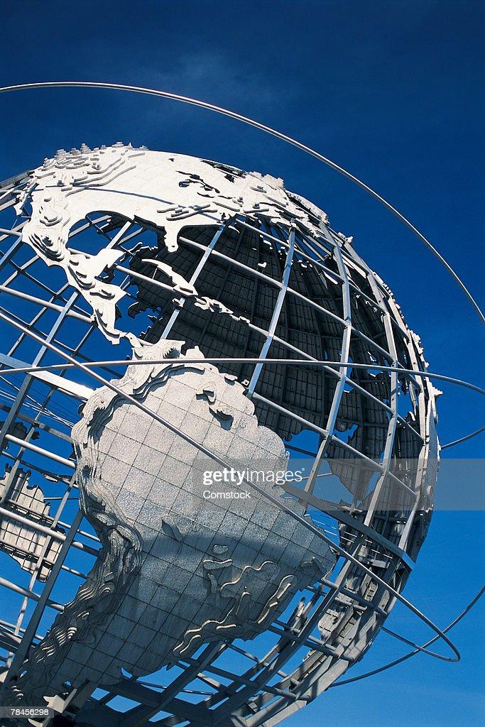 World globe in metal in Queens, New York