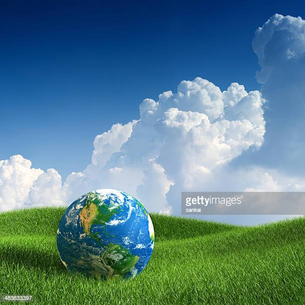 World globe laying on green grass. Concept image.