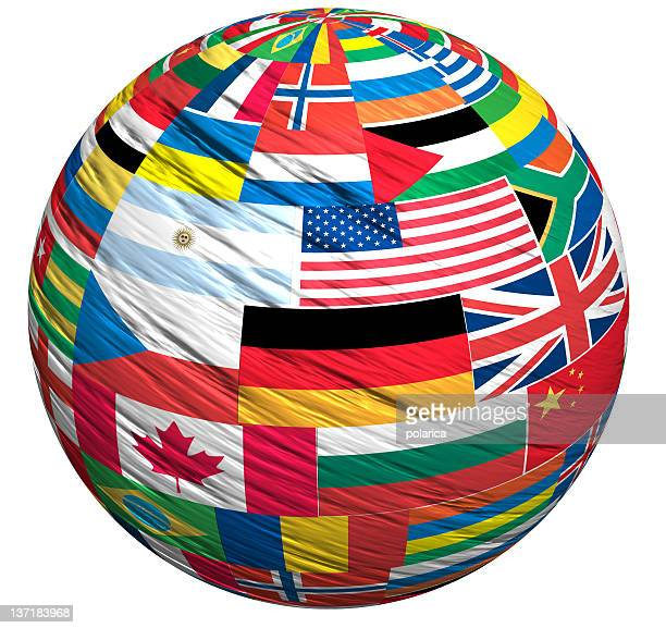 A world globe of the countries flags
