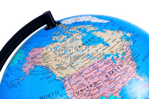 World Globe On Canada Stock Photo Thinkstock - Us globe map