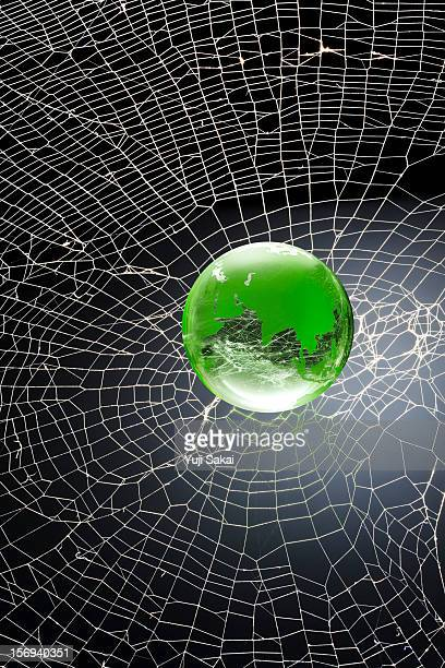 world globe on  the spider web