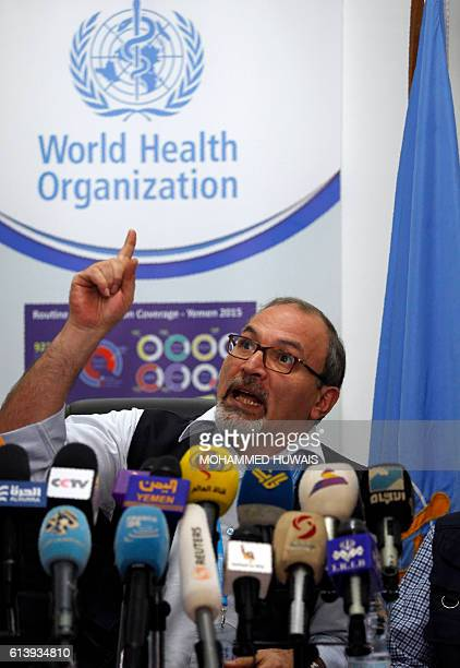 World Health Organization expert Amro Saleh speaks during a press conference in the Yemeni capital Sanaaon October 11 2016 The World Heath...