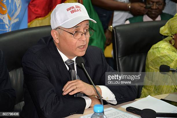 World Health Organization Representative Mohamed Belhocine wears a cap reading 'Finally zero Ebola' as he takes part in a press conference on...