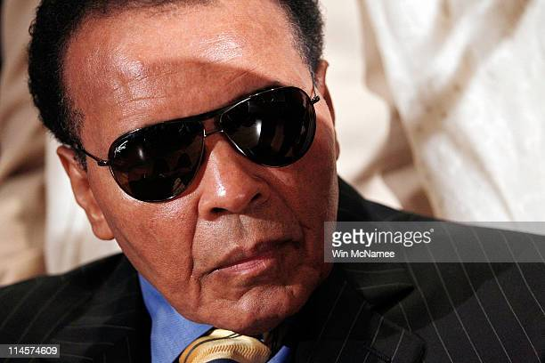 World Heavyweight Boxing Champion Muhammad Ali attends a news conference at the National Press Club on May 24 2011 in Washington DC Ali and other...