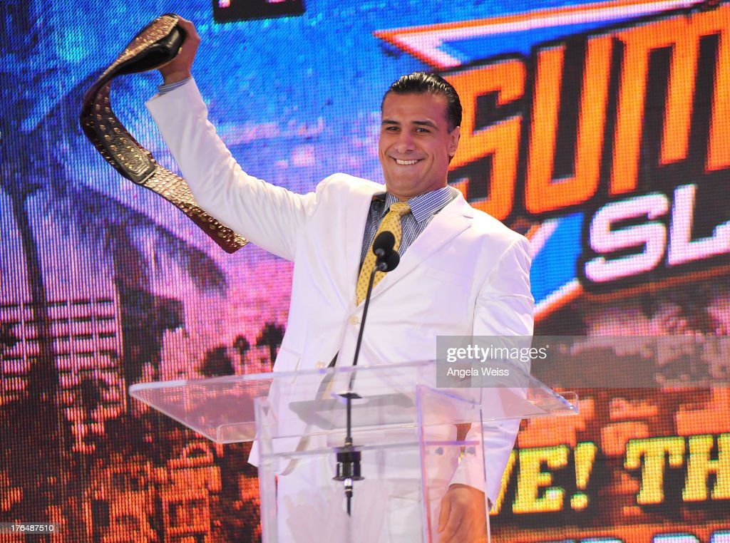 World Heavyweight Champion Alberto Del Rio attends the WWE SummerSlam press conference at Beverly Hills Hotel on August 13, 2013 in Beverly Hills, California.