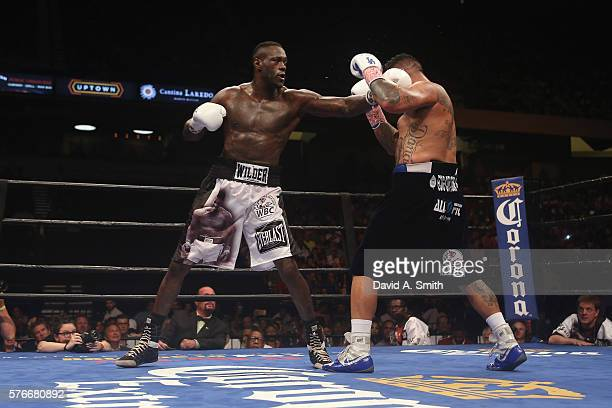 World Heavyweight Champion Deontay Wilder fights Chris Arreola in a title defense at Legacy Arena at the BJCC on July 16 2016 in Birmingham Alabama