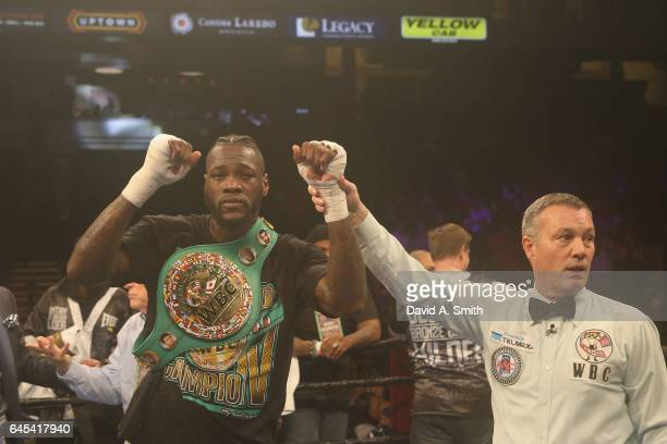 World Heavyweight Champion Deontay Wilder is announced the winner in his fight against Gerald Washington at Legacy Arena at the BJCC on February 25...