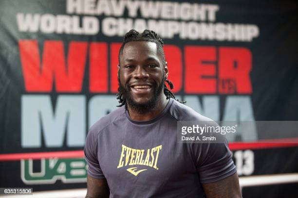 World Heavyweight Champion Deontay Wilder participates in a media workout at Skyy Boxing on February 14 2017 in Northport Alabama