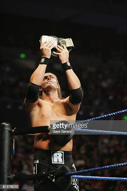 World Heavyweight Champion Edge poses during WWE Smackdown at Acer Arena on June 15 2008 in Sydney Australia