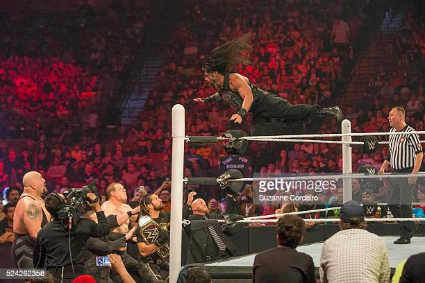 WWE World Heavyweight Champion Seth Rollins at the WWE Monday Night Raw at the Frank Erwin Center on April 6 2015 in Austin Texas