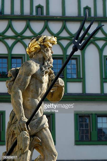 UNESCO World Heritage Site classic Weimar, Neptun fontain, old town hall, Weimar Thuringia Germany