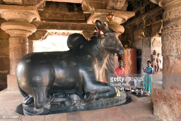 UNESCO World Heritage Site, Monolith Nandi statue in Pattadakal eight century, Karnataka, India