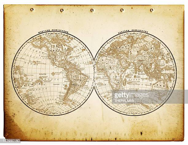 world in hemispheres 1890
