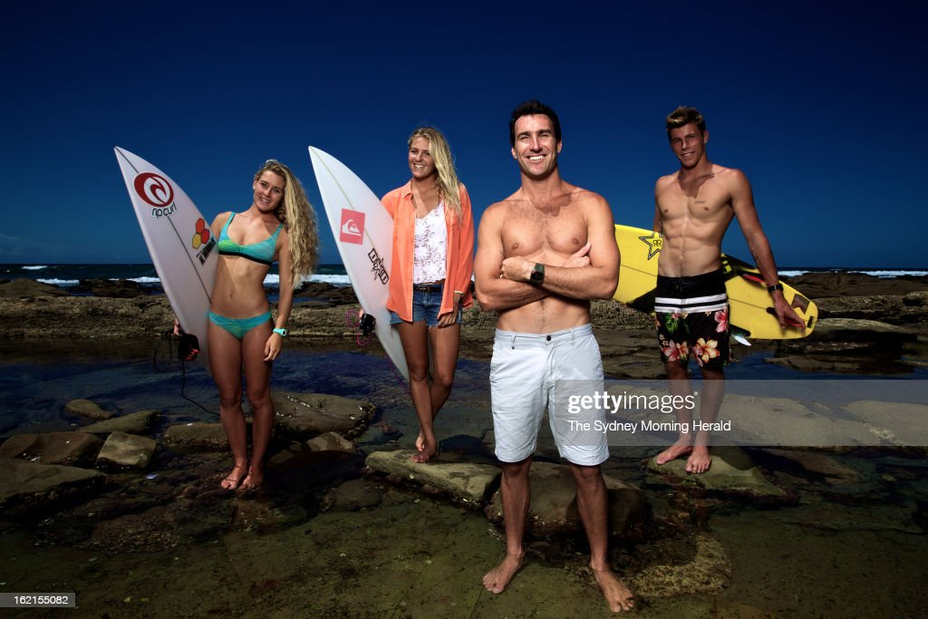 World Junior Champion Nikki Van Dijk, Women's Surfing World Champion Stephanie Gilmore, Male Surfer of the Year Joel Parkinson and World Junior Champion Jack Freestone pose on February 19, 2013 in Newcastle, Australia. Australia's four world champion surfers are in Sydney to celebrate Surfing Australia's 50th anniversary. (Photo by Danielle Smith/The Sydney Morning Herald/Fairfax Media via Getty Images).