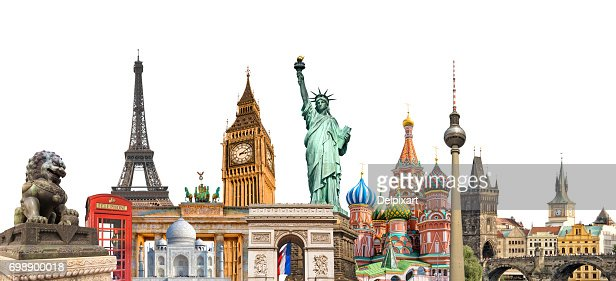 World landmarks photo collage isolated on white background, travel, tourism and study around the world concept : Foto de stock