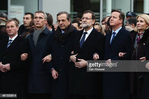 World leaders and dignitaries including Taoiseach of Ireland Enda Kenny Spanish Prime Minister Mariano Rajoy and British Prime Minister David Cameron...