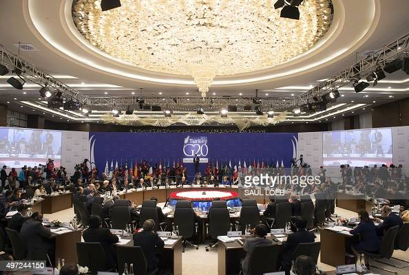 World leaders attend a working session on the Global Economy during the G20 summit in Antalya on November 15 2015 Leaders from the world's top 20...