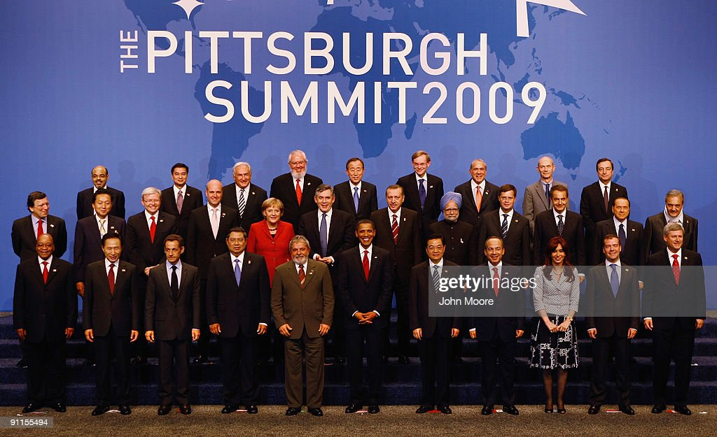 World leaders front row (L-R) are South African President Jacob Zuma, South Korean President Lee Myung-bak, French President Nicolas Sarkozy, Indonesian President Susilo Bambang Yudhoyono, Brazilian President Luiz Inacio Lula da Silva, U.S. President <a gi-track='captionPersonalityLinkClicked' href=/galleries/search?phrase=Barack+Obama&family=editorial&specificpeople=203260 ng-click='$event.stopPropagation()'>Barack Obama</a>, Chinese President Hujin Tao, Mexican President Felipe Calderon Hinojosa, Argentinian President Cristina Fernandez de Kirchner, Russian President Dmitry Medvedev, Canadian Prime Minister Stephen Harper, second Row (L-R) European Commission President Jose Manuel Barroso, Japanese Prime Minister Yukio Hatoyama, Australian Prime Minister Kevin Rudd, Swedish Prime Minister Fredrik Reinfeldt, German Chancellor Angela Merkel, British Prime Minister <a gi-track='captionPersonalityLinkClicked' href=/galleries/search?phrase=Gordon+Brown&family=editorial&specificpeople=158992 ng-click='$event.stopPropagation()'>Gordon Brown</a>, Turkish Prime Minister <a gi-track='captionPersonalityLinkClicked' href=/galleries/search?phrase=Recep+Tayyip+Erdogan&family=editorial&specificpeople=213890 ng-click='$event.stopPropagation()'>Recep Tayyip Erdogan</a>, Indian Prime Minister <a gi-track='captionPersonalityLinkClicked' href=/galleries/search?phrase=Manmohan+Singh&family=editorial&specificpeople=227120 ng-click='$event.stopPropagation()'>Manmohan Singh</a>, Dutch Prime Minister <a gi-track='captionPersonalityLinkClicked' href=/galleries/search?phrase=Jan+Peter+Balkenende&family=editorial&specificpeople=549216 ng-click='$event.stopPropagation()'>Jan Peter Balkenende</a>, Spanish Prime Minister Jose Luis Rodruigez Zapatero, Italian Prime Minister <a gi-track='captionPersonalityLinkClicked' href=/galleries/search?phrase=Silvio+Berlusconi&family=editorial&specificpeople=201842 ng-click='$event.stopPropagation()'>Silvio Berlusconi</a>, Saudi Arabian Foreign Minister Prince Saud Al Faisal, third row (L-R) Ethiopian Prime Minister <a gi-track='captionPersonalityLinkClicked' href=/galleries/search?phrase=Meles+Zenawi&family=editorial&specificpeople=661737 ng-click='$event.stopPropagation()'>Meles Zenawi</a>, Thai Prime Minister <a gi-track='captionPersonalityLinkClicked' href=/galleries/search?phrase=Abhisit+Vejjajiva&family=editorial&specificpeople=645779 ng-click='$event.stopPropagation()'>Abhisit Vejjajiva</a>, IMF Managing Director <a gi-track='captionPersonalityLinkClicked' href=/galleries/search?phrase=Dominique+Strauss-Kahn&family=editorial&specificpeople=227268 ng-click='$event.stopPropagation()'>Dominique Strauss-Kahn</a>, Director General of the ILO Juan Somavia, UN Secretary General Ban Ki-moon, World Bank President <a gi-track='captionPersonalityLinkClicked' href=/galleries/search?phrase=Robert+Zoellick&family=editorial&specificpeople=213635 ng-click='$event.stopPropagation()'>Robert Zoellick</a>, OECD Secretary General Angel Gurria, Director General of the WTO Pascal Lamy, and FSB Chairman Mario Draghi pose for the official group photo at the G-20 on September 25, 2009 in Pittsburgh, Pennsylvania. Heads of state from the world's leading economic powers are meeting for the second day of the G-20 summit held at the David L. Lawrence Convention Center, aimed at promoting economic growth.