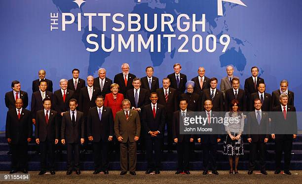 World leaders front row are South African President Jacob Zuma South Korean President Lee Myungbak French President Nicolas Sarkozy Indonesian...
