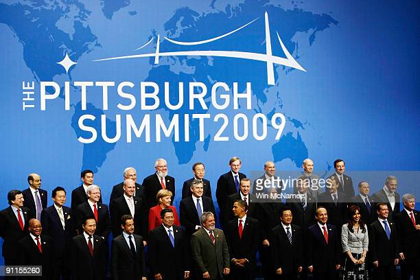 World leaders pose for a group photo at the G20 economic summit on September 25 2009 in Pittsburgh Pennsylvania Standing in the front row are South...