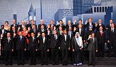 World leaders pose for a group photo during the G20 summit June 27 2010 in Toronto Ontario Canada The leaders in attendance include US President...