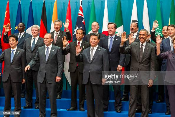 World leaders pose for the annual G20 family photograph on November 15 2014 in Brisbane Australia World leaders have gathered in Brisbane for the...