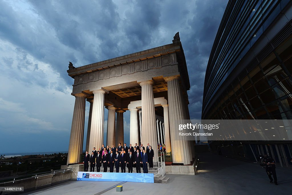World leaders pose for the family photo at the NATO summit at Soldier Field on May 20, 2012 at in Chicago, Illinois. As sixty heads of state converge for the two day summit that will address the situation in Afghanistan, among other global defense issues, thousands of demonstrators have taken to the streets to protest.