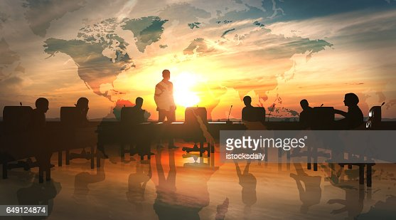 World Management Team in office silhouette : Foto stock