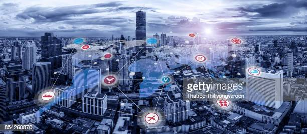world map connection with cityscape and smart city of wireless communication network and technology concept