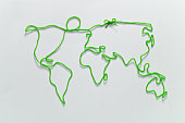World map  drawn by string