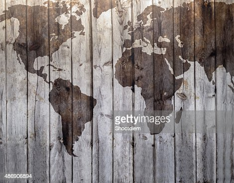 World map drawn on canvas wood effect : Stock Photo