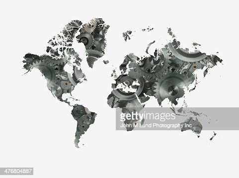 World map formed by cogs