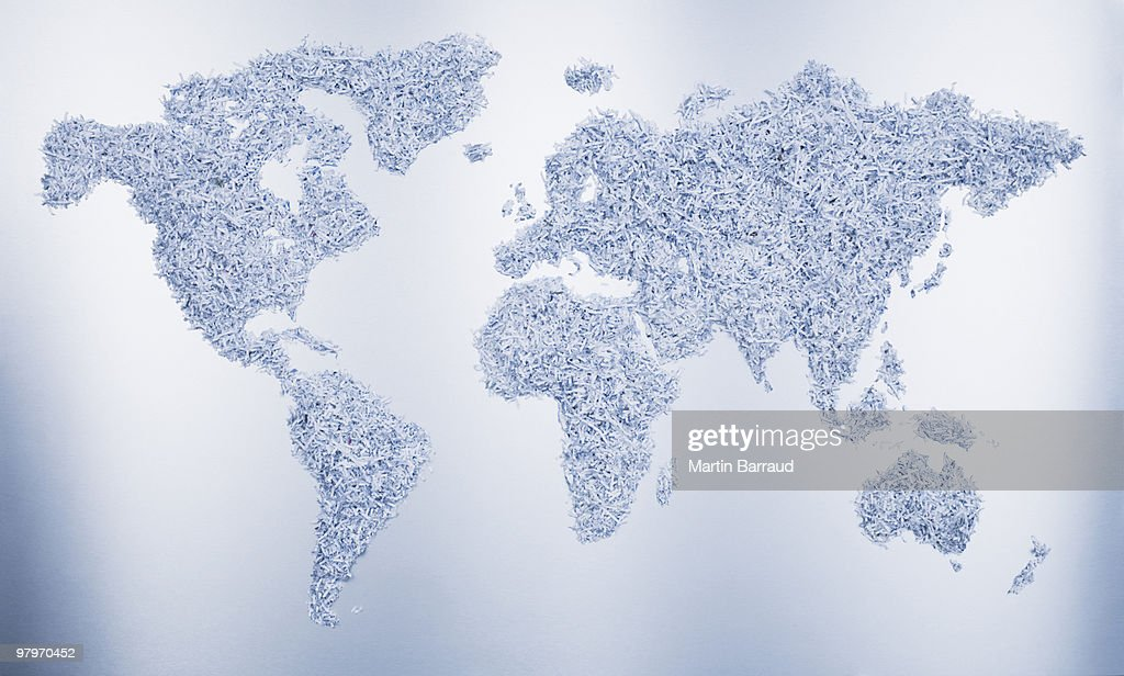 World map formed by shredded paper : Stock Photo