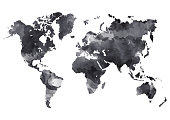 World map in digital ink painted