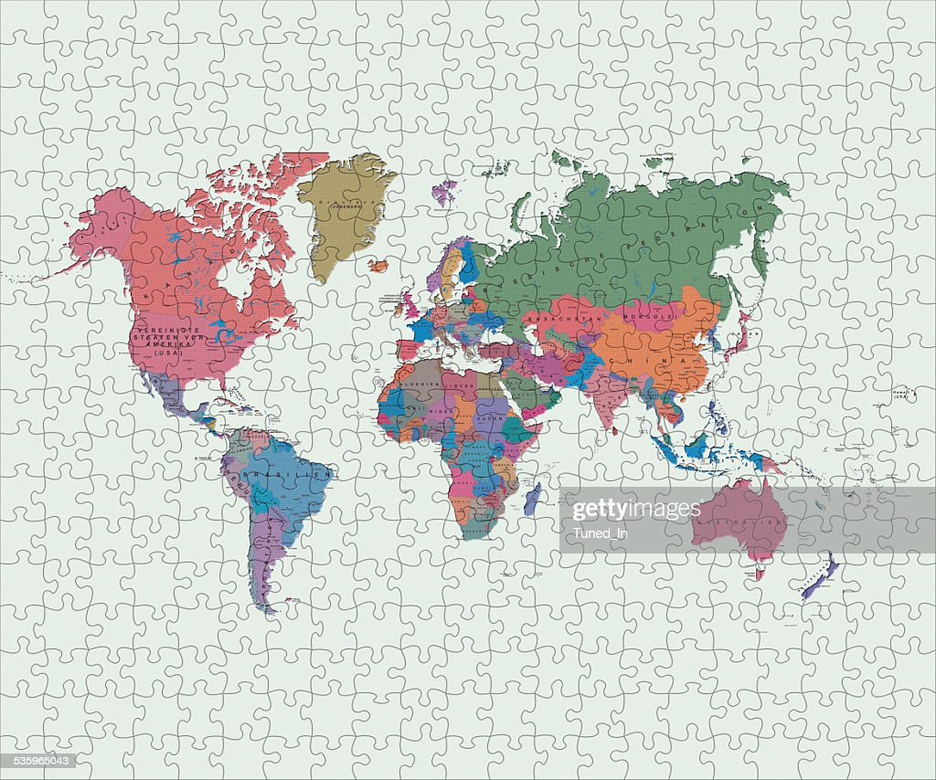 World map made of jigsaw pieces : Stock Photo