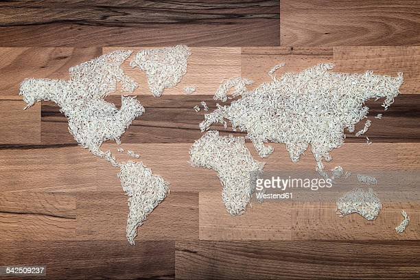 World map made of rice grains, symbol for world hunger