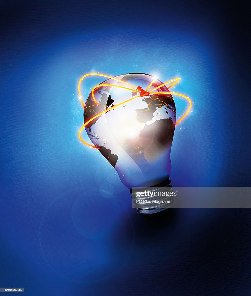 A world map on a lightbulb to illustrate business ideas and opportunities through web resources, created on June 11, 2012.