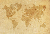 World Map on a old worn paper XXXL