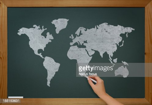 World map on blackboard : Stock Photo