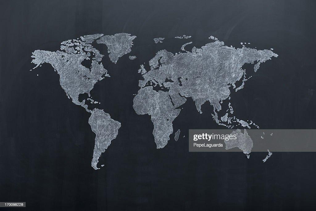 Carte du monde sur le tableau : Photo