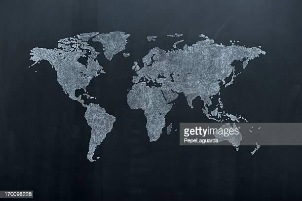 世界地図に黒板