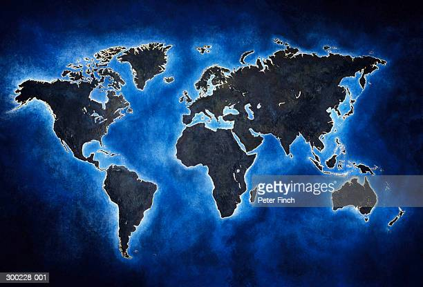 World map on blue background (Digital Enhancement)